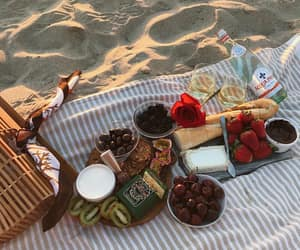 food, beach, and picnic image