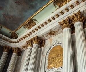 castle, column, and golden image