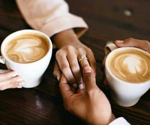 coffee, couple, and hand image