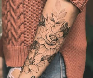 black, ink, and flowers image