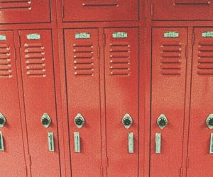 red, locker, and theme image