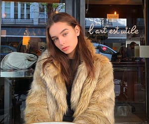 brunette, cafe, and coffee image