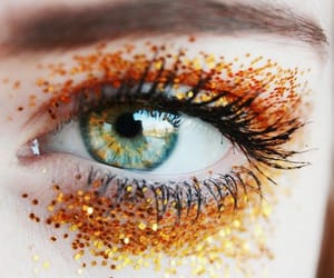eyes, orange, and glitter image