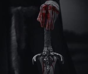 blood, sword, and black image