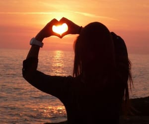heart, girl, and sunset image