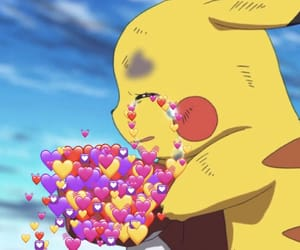 hearts, meme, and pikachu image