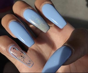 acrylic, blue, and long nails image