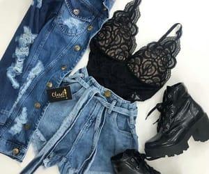 black, denim, and fashion image