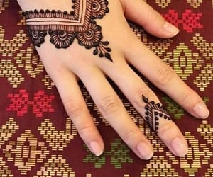 hand, henna, and text image