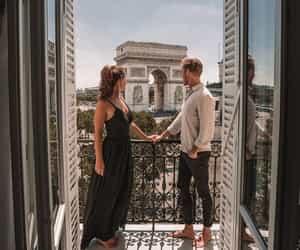 arc de triomphe, couple, and fashion image