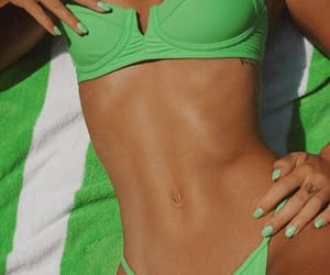 bikini, green, and girl image