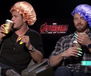 chris evans, captain america, and chris hemsworth image