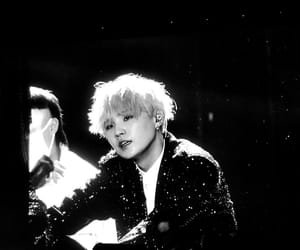 black and white, yoongi, and bts image