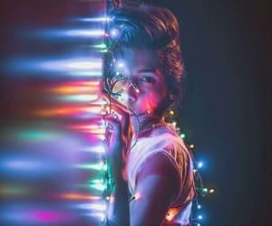 girls, illustrations, and lights image