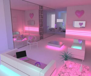 pink, room, and neon image
