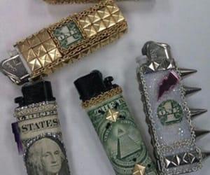 lighter, money, and grunge image