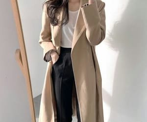beige, long coat, and black image