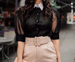 puff sleeve, high-waisted pants, and statement top image