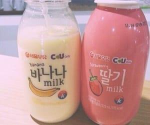 milk, banana, and strawberry image