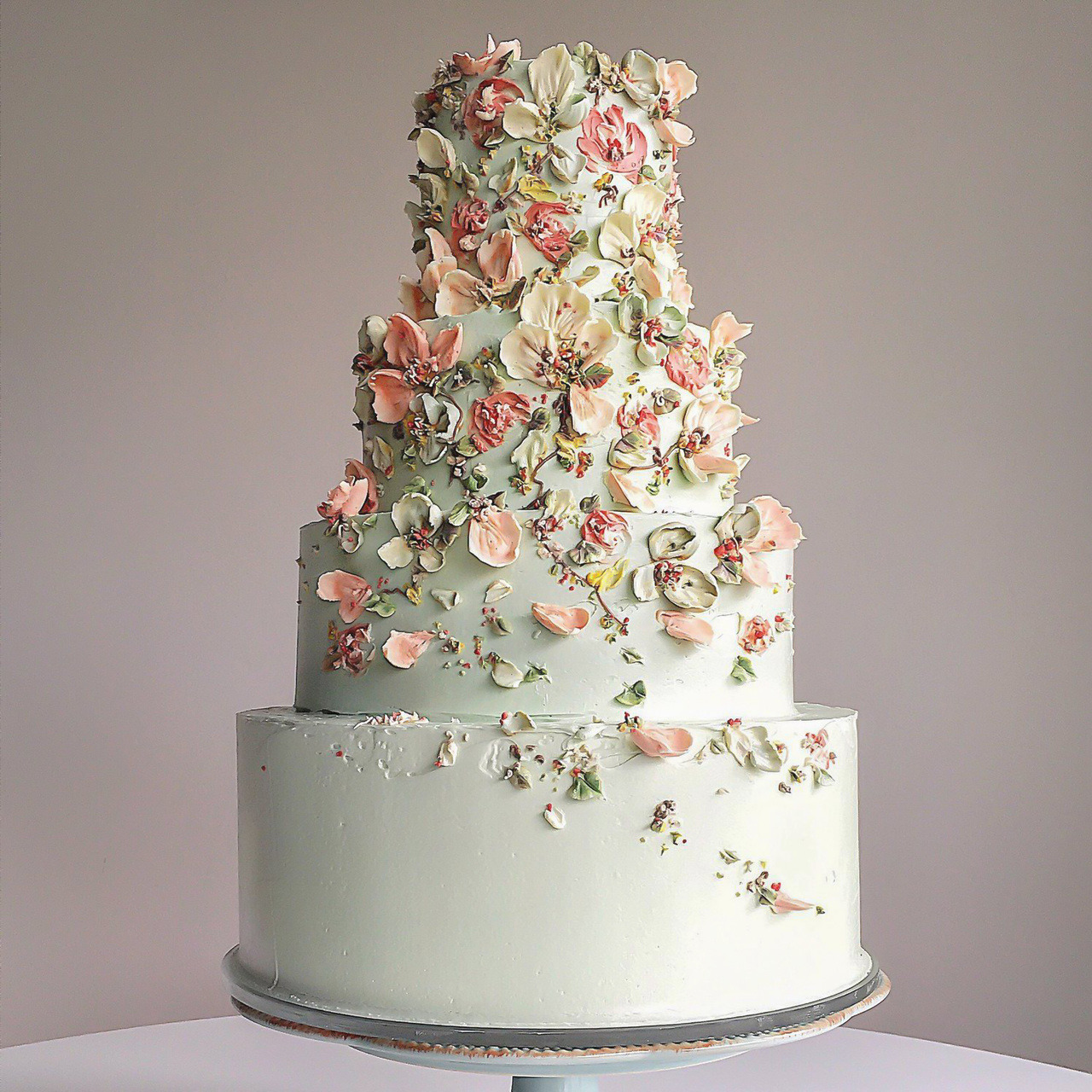 Beautiful Pastel Green Wedding Cake Decorated With Floral Petalsby Cynzcakes
