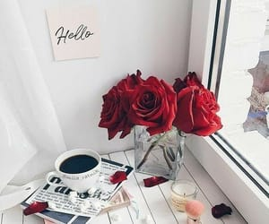 beautiful, coffee, and roses image