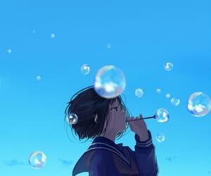 anime, girls, and sky image