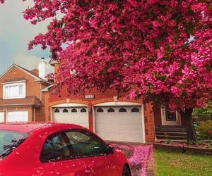 big house, garage, and pink image