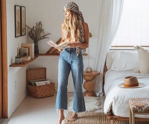 bedroom, book, and fashion image