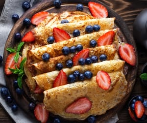 blueberries, dessert, and pancakes image