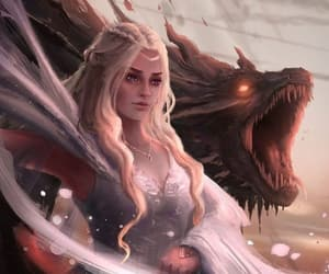 game of thrones, daenerys targaryen, and dragon queen image