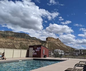 camp, mountain, and pool image