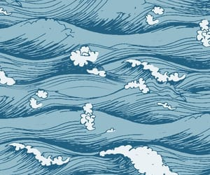 wallpaper, blue, and waves image