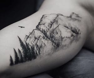 tattoo, mountains, and ink image