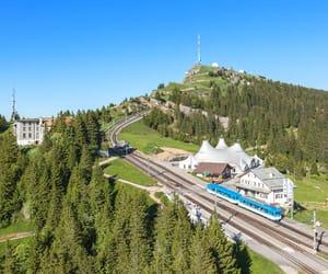 mountain, railway, and switzerland image