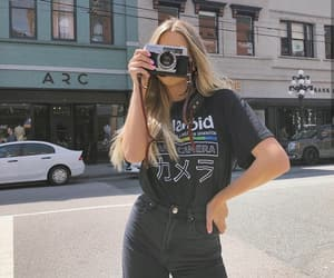 camera, fashion, and graphic tee image