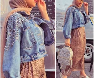 hijab and cropped jean jacket image