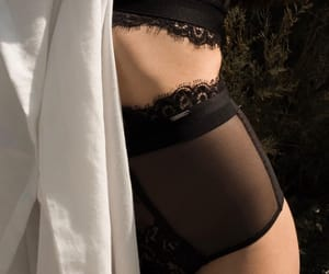 black lace, chic, and lingerie image