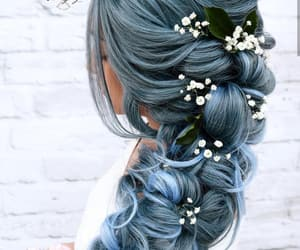 blue hair, flowers, and flower hair image