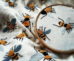art, bees, and embroidery image