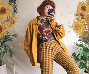 yellow, outfit, and sunflower image