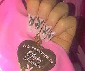 nails, pink, and Playboy image
