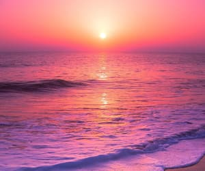 ocean, pink, and sunset image