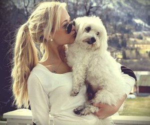 girl, dog, and blonde image