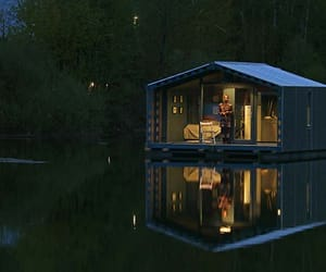 apartments, architecture, and floating house image