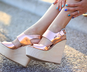 gold, shoes, and wedges image