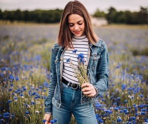 aesthetic, blue, and brunette image
