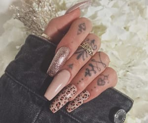 glitter, leopard, and nails image
