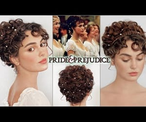 curls, updo, and hair image