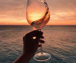 wine, ocean, and beach image