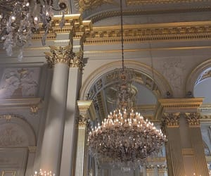 aesthetic, chandelier, and gold image